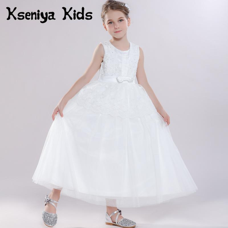 Kseniya Kids Girls White Long Princess Dress Flower Bow Sleeveless Children Evening Dresses Girl Dress For Party And Wedding new arrival kids dress for girls clothes bowknot sleeveless lace children dress wedding party flower girl dresses 3 colors