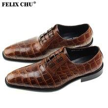 FELIX CHU Italian Modern Mens Formal Oxford Brogue Genuine Calf Leather Crocodile Print Brown Dress Shoes Size 39-46 #1815-810