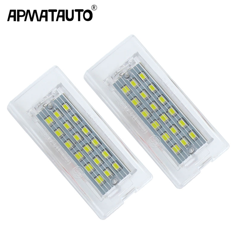 Apmatauto 2pcs White CANbus <font><b>LED</b></font> Number License Plate Light Lamp <font><b>18</b></font> <font><b>SMD</b></font> 3528 For BMW E53 X5 1999-2003 E83 X3 03-10 Error Free image