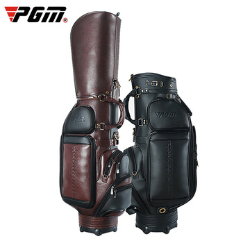 Pgm Genuine Leather Large Capacity Portable Golf Bag Waterproof Retractable Standard Ball Package Support Full Sets Clubs D0740