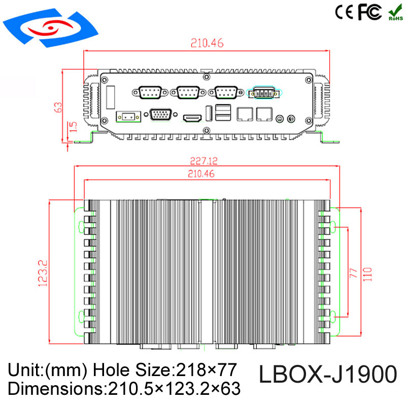 Купить с кэшбэком Factory Supply Intel Celerom J1900/N2930 Fanless Industrial Mini Box PC Optional 32G/64G/128G/256G Solid State Drives 4G RAM