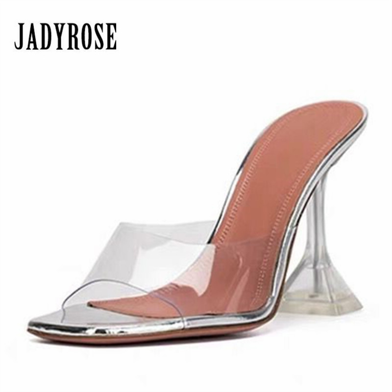 Jady Rose Strange Heel PVC Slippers Summer High Heel Sandals Women Pumps Dress Shoes Woman Clear