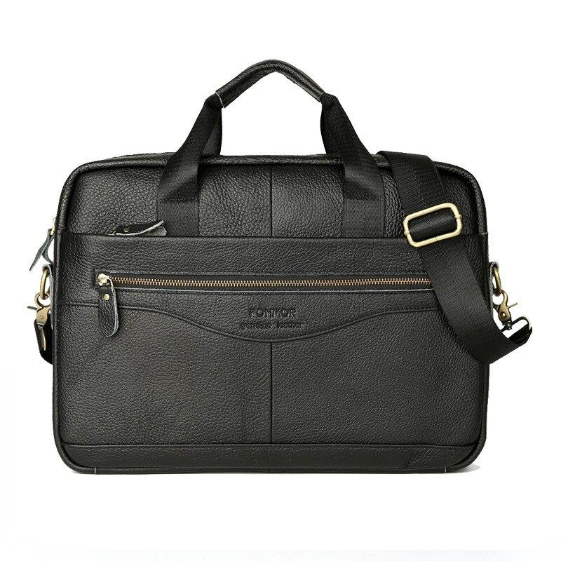 Men Leather Briefcase Laptop Bag Male Genuine Leather Bag Men Briefcase Handbags Multifunction Men's Travel Shoulder Bag