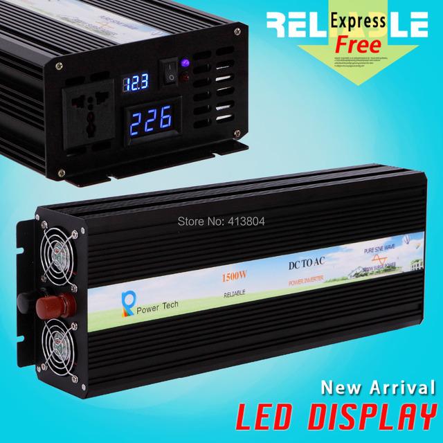 3000W Peak, 1500W 12V/24V48V/96V to 110V/120V/220V/ DC to AC Converter LED Display Off Grid Pure Sine Wave Solar Power Inverter