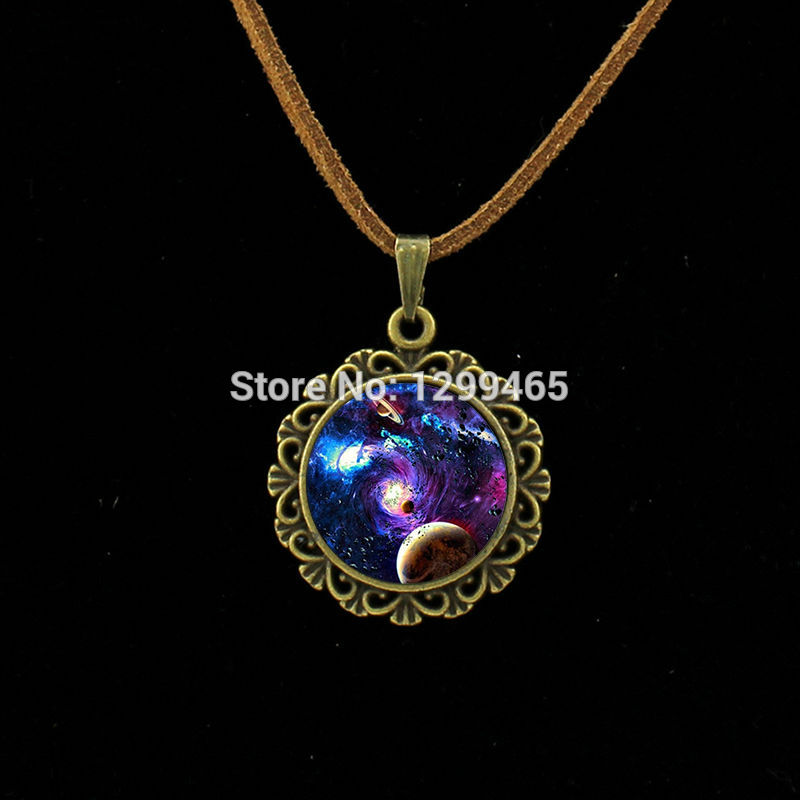 2015 Fashion and Fine Leather Necklace universe moon light Jewelry Galaxy moon surface pendant universe space jewelry L 152