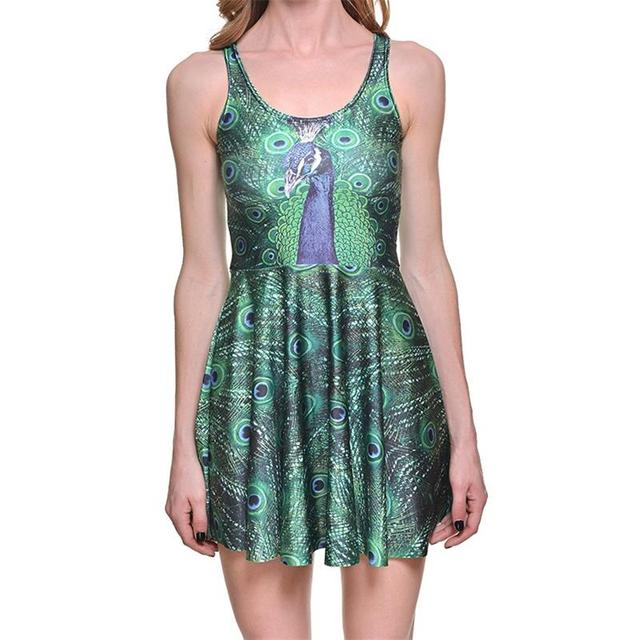 18409bdbe96 New Peacock Sexy Women Tennis Sports Pleated Dress Vogue Slim Elastic Green  Peacock Feather Skater Dresses Party Sports Dress