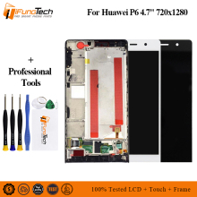 купить Free Shipping 100% Tested For Huawei P6 P6S LCD Display+Touch Screen Digitizer Glass Panel Replacement For Huawei Ascend P6 по цене 1251.17 рублей