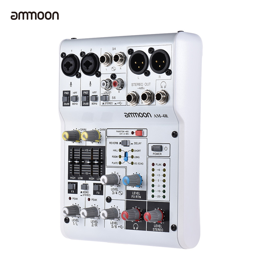 ammoon AM 4R Mixer Console 6 Channel Audio Mixing Console Sound Card Digital Mixing Console Built