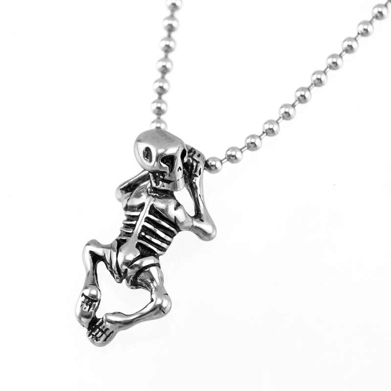 Men's masculina daily necklace Punk sexy skeleton pendant ball chain Necklace Stainless steel high quliaty male choker necklaces