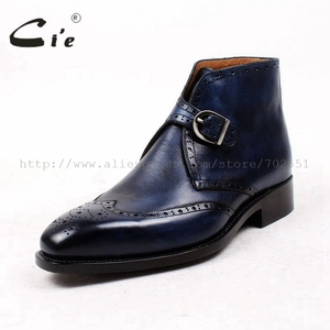 Image 2 - cie square toe full brogues medallion patina blue 100%genuine calf leather boot goodyear welted buckle handmade mens boot  A91