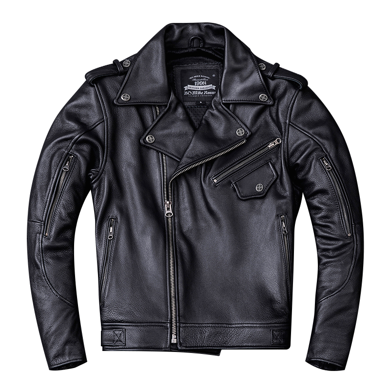 Jacket Motorcycle Harley Damson Coat Biker's Genuine-Cowhide Slim XXXL Black Zipper Plus-Size