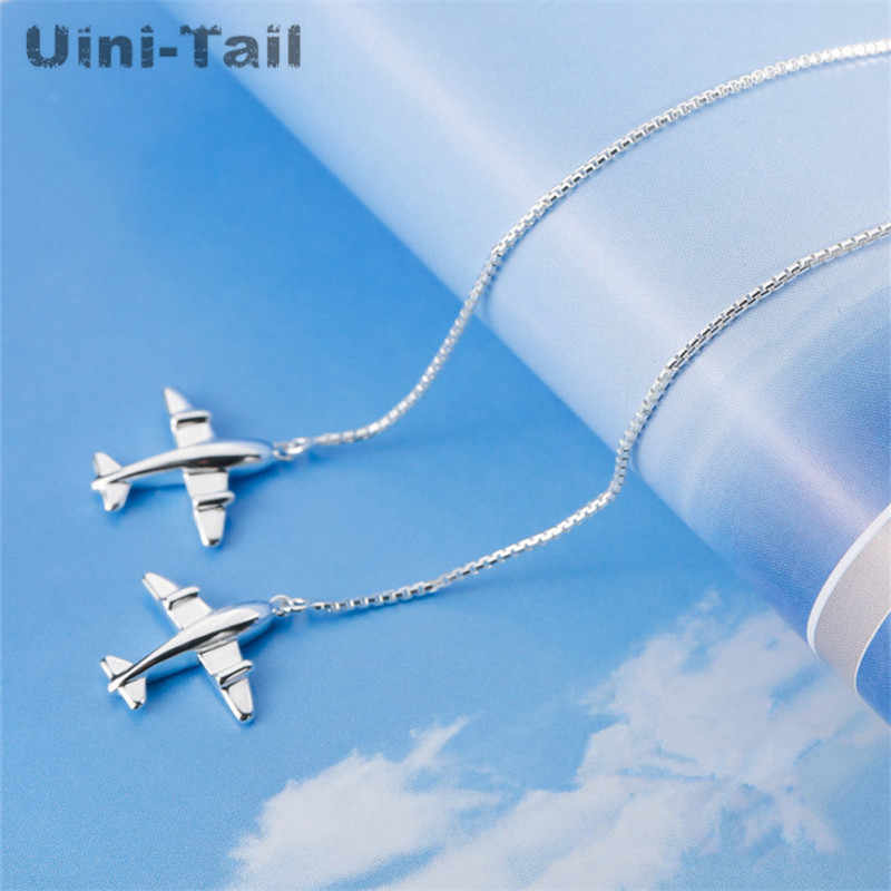 Uini-Tail hot new 925 sterling silver small aircraft long ear line female personality fashion tide flow sweet earrings gift