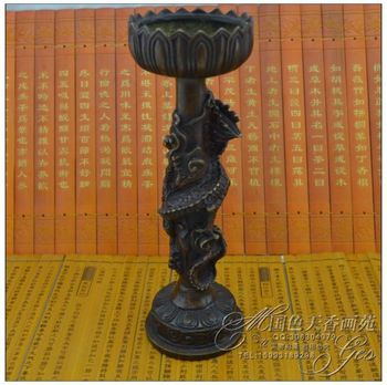 China Antique collection The copper carving Double dragon Candle holders ornaments