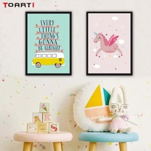 Cartoon Unicorn Cute Bear Sheep Canvas Painting Posters And Prints For Kids Rooms Wall Pictures Living Room Home Decor
