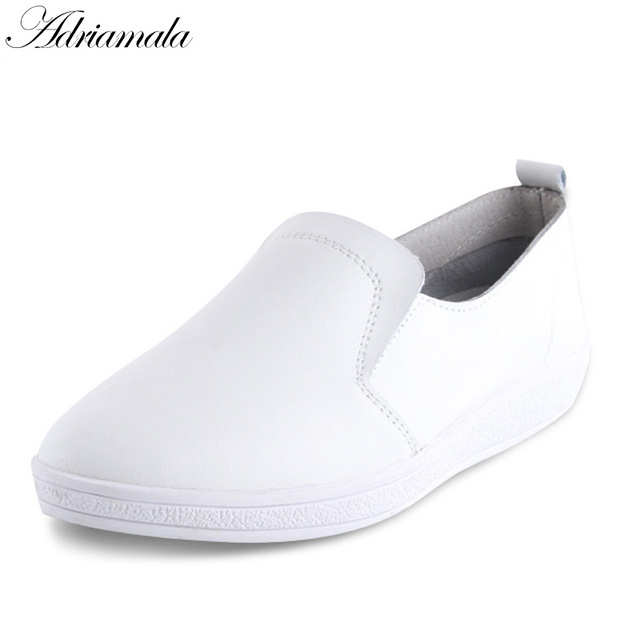 def7698783c4 ... Adriamala Women Shoes Leather Loafers Flats Girls Slip On Lazy Shoes  Fashion 2018 Popular Student Girls ...