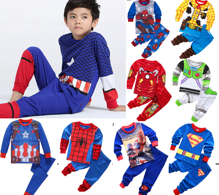 2018 Kids Pajamas Boy's Children Cartoon Sleepwear Baby Spiderman Nightclothes Toy Story Pyjamas Tops + Sports Pants Set(China)