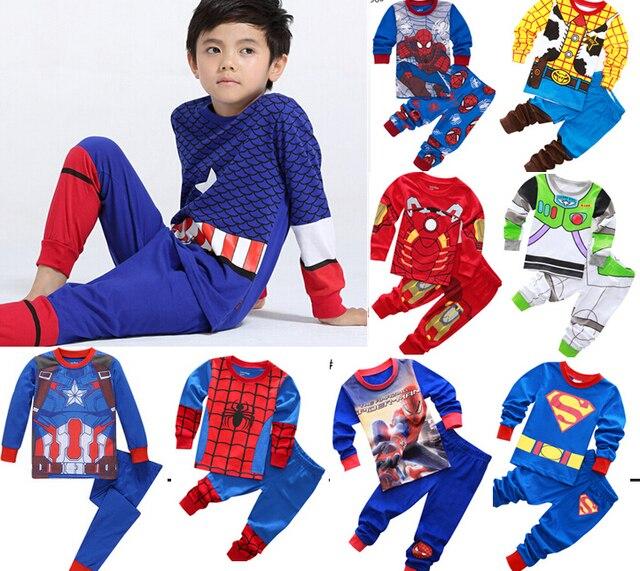 9158e4d1f4 2018 Kids Pajamas Boy s Children Cartoon Sleepwear Baby Spiderman  Nightclothes Toy Story Pyjamas Tops + sports