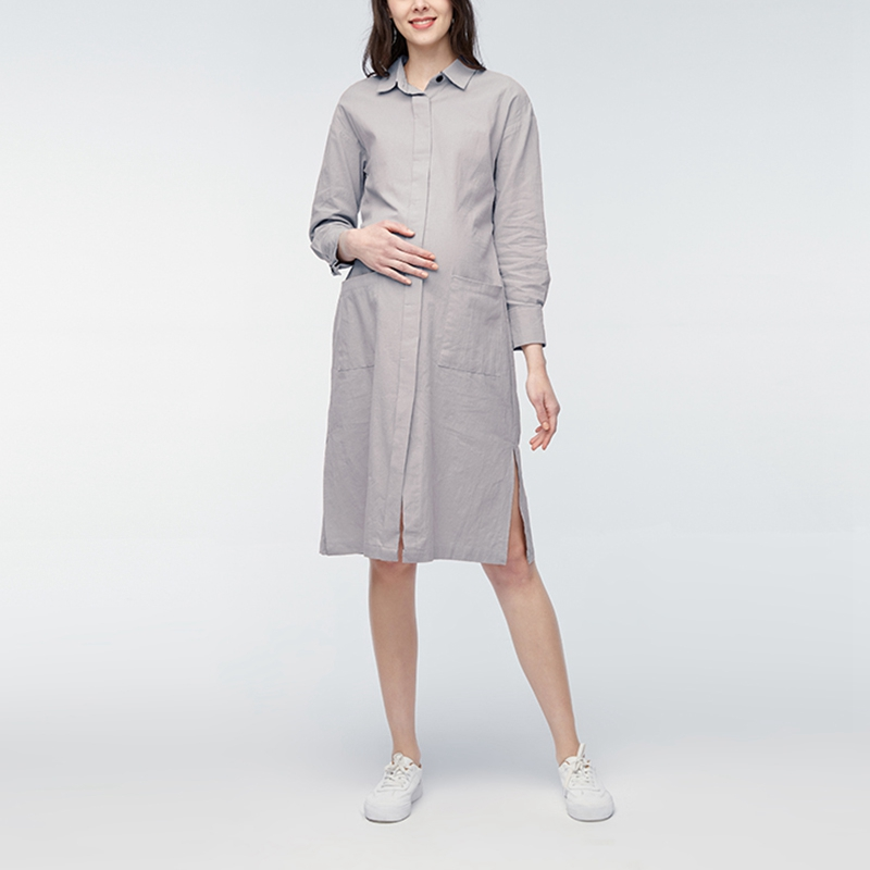 Pregnant Women Knee-length Dress 2018 Spring Lapel Long Sleeve Casual Solid Vestidos Plus Size Long Cardigan Outwear Oversized