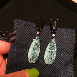 Image 5 - Bilincolor fashion luxury black and delicate blue broken cubic zircon drop earring for women