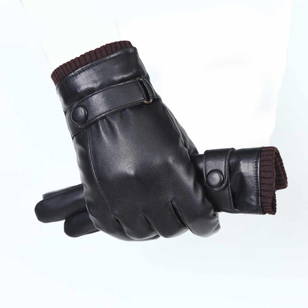 Homens Venda quente Luvas de pele de Carneiro Luva De Couro Genuíno Para Homens Inverno Quente Ao Ar Livre Luvas de Espessamento da Pele Térmica Preto