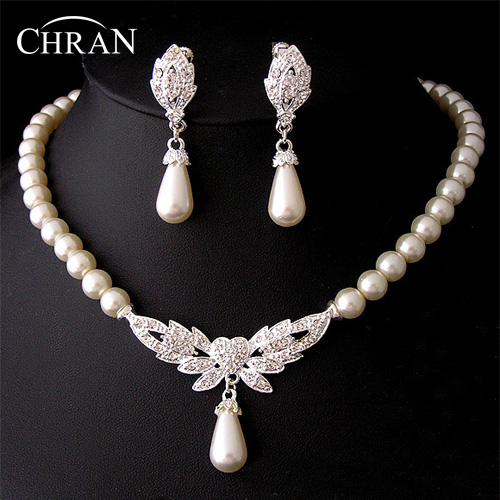 Chran New 19 Designs Heart Angel Wing Butterfly Wedding/Bridal Faux Pearl &Crystal Necklace Earrings Jewelry Set DFSPJS6057 - Store store