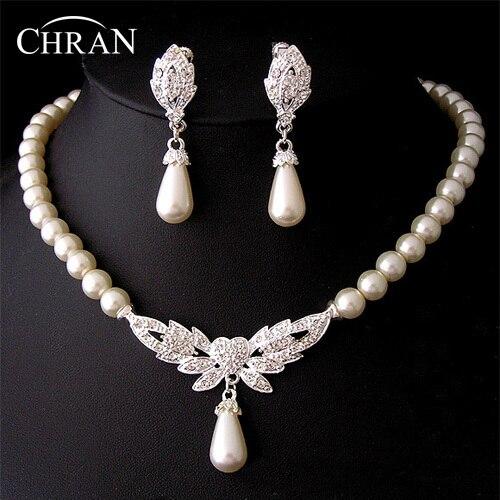 Chran New 19 Designs Heart Angel Wing Butterfly Wedding/Bridal Faux Pearl &Crystal Necklace Earrings Jewelry Set DFSPJS6057
