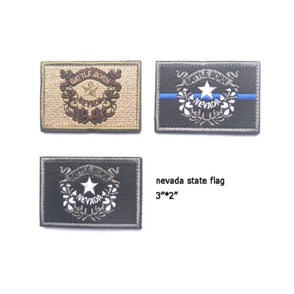Nevada State Flag Embroidery Patches Loops And Hook Magic Stickers
