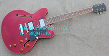 free shipping new 6 strings hollow electric guitar in red with mahogany body for jazz music made in China LL22