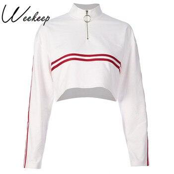 Weekeep Women Fashion Stripped Turtleneck Hoodies Spring Autumn White Loose Sweatshirt Pullovers Streetwear Long Sleeve Hoodie women Sweatshirts & Women Hoodies