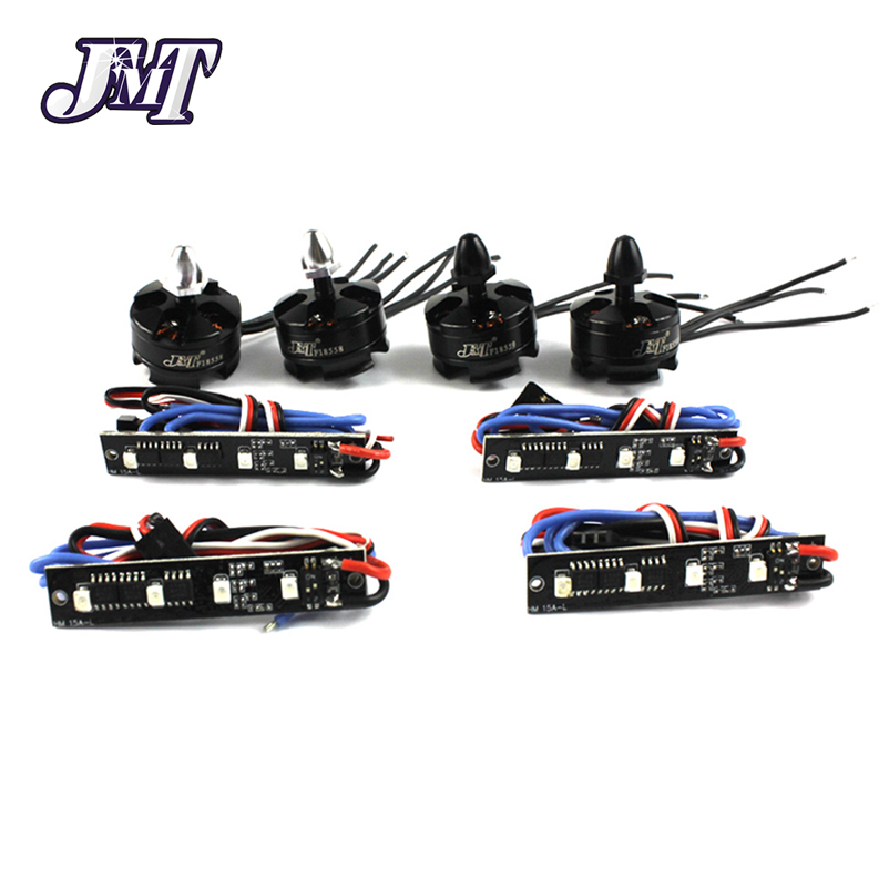 JMT Brushless ESC 2PCS CW+CCW 2204 2300KV Motor + 4pcs BLheli REV11.2 LED  For DIY 210 250 270 Quadcopter Mini Drone F17487-A lhi fpv 4x mt2206 2300kv cw ccw fpv brushless motor 2 4s 4 pcs racerstar rs20a lite 20a blheli s bb1 2 4s brushless esc