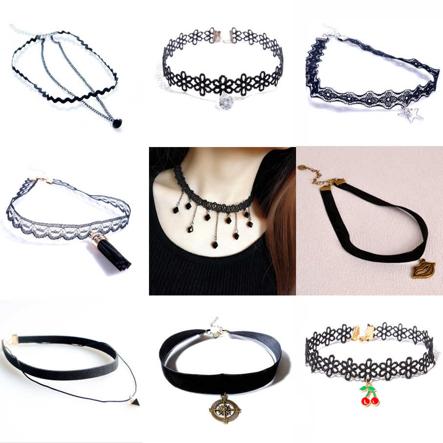 Collar Necklace For Woman Girl Fashion Jewelry Lace Velvet Trend Summer Gift Simple Black Sequins Pearl Fringed Pendant