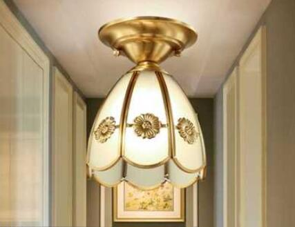 French carved copper lamp American ceiling lamp led bedroom lamp European simple cloakroom lace corridor LU626 ZL148 american rural wall lamp all copper bedroom berth lamp lens headlight corridor european contracted sitting room single head wal