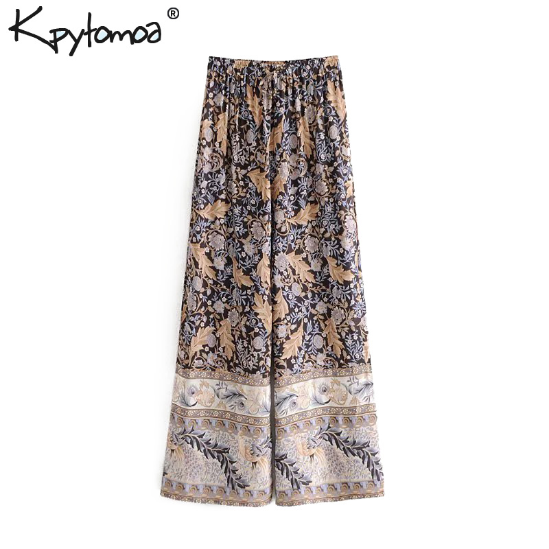 Boho Chic Summer Vintage Floral Print   Wide     Leg     Pants   Women 2019 Fashion Elastic Waist Loose Beach Trousers Pantalones Mujer
