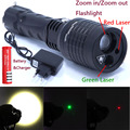 2016 New 3 in 1 Zoomable Led Flashlight Red Green Laser Pointer light For Camping Lantern with Battery and Charger