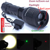 2016 New 3 In 1 Zoomable Led Flashlight Red Green Laser Pointer Light For Camping Lantern