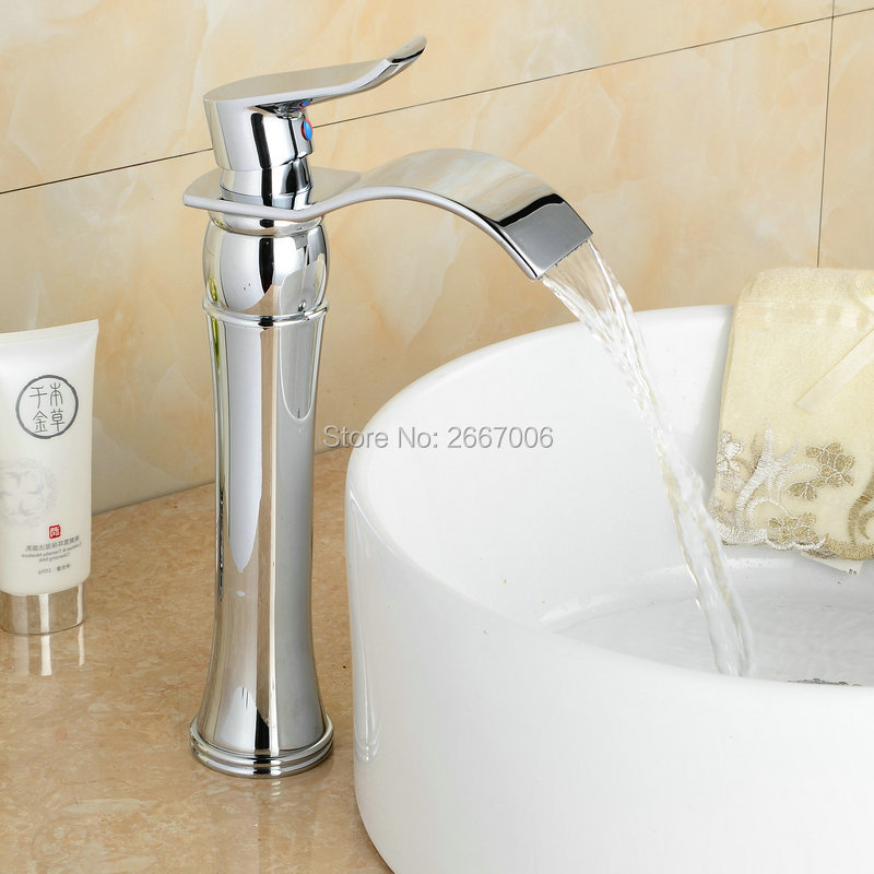 wide bathroom sink two faucets free shipping deck mounted wide spout tap waterfall 24705