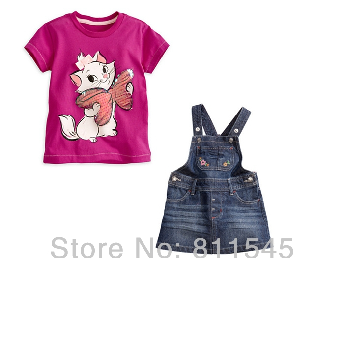 Retail New Arrival Fashion Baby Girl Suits Cute Cat T-shirt Jeans Overalls Kids Skirt Sets of Children Outerwear Toddler Clothes 2pcs children outfit clothes kids baby girl off shoulder cotton ruffled sleeve tops striped t shirt blue denim jeans sunsuit set