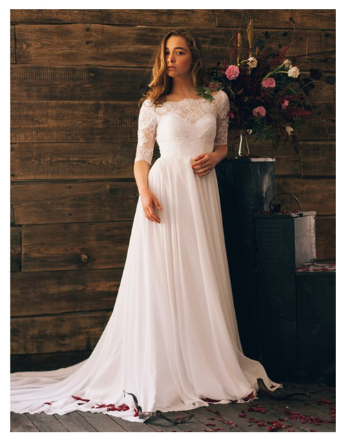 d8956400af2 LORIE Wedding Dress Half Sleeves A-Line Top Lace Chiffon Skirt Custom Made  Boho Wedding Gown Arabic Bride Dress Free Shipping