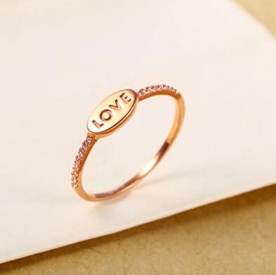 new Pure AU750 Rose gold Love Ring lucky cute letter ring 1.13-1.23g Hot sale au750 rose gold ring lady d ring size 6