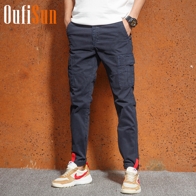 dee3c3be4 Aliexpress.com : Buy Oufisun Men's Solid Tactical Cargo Pants Men Joggers  Boost Military Casual Cotton Pants Hip Hop Ribbon Male Army Trousers Men ...