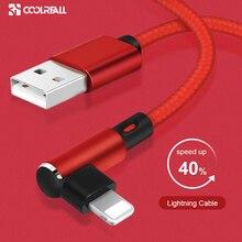 Câble USB Coolreall 90 degrés pour iphone XS MAX XR X 8 7 6 6S Plus 5 5s SE ipad mini câble de données de téléphone portable à chargement rapide usb