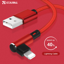 Coolreall cable USB de carga rápida para móvil, cable de datos de 90 grados para iphone XS MAX XR X 8 7 6 6S Plus 5 5s SE ipad