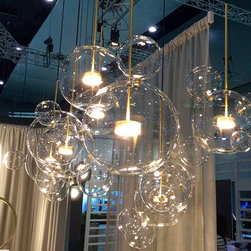 Modern Soap Bubble Clear Glass Pendant Lights For Parlor