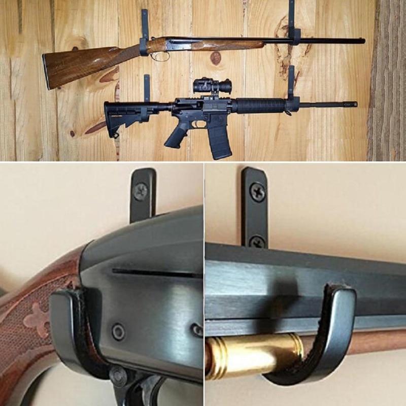 1 Pair Gun Wall Mount Storage Rack J-Hook Rifle Shot Gun Hangers Set Anti-Scratch Stainless Steel Gun Rack Hard