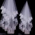Branco Applique Véus De Noiva Véu de Noiva Curto Moda velos de novia mariage voile voile de mariee duvak