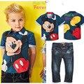 2016 de Mezclilla Ratón Juegos De Los Cabritos Bebés Ropa de Verano Minnie Mouse 2 unids Ropa Chándal Camisetas + Pantalones Vaqueros H334