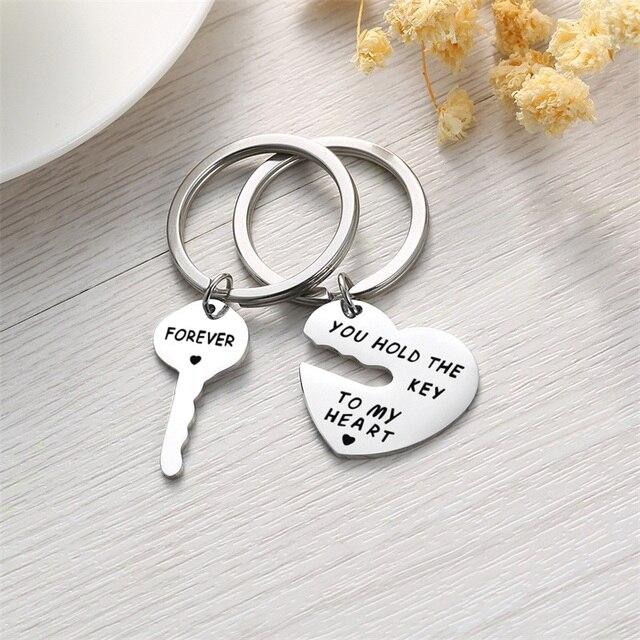 AZIZ BEKKAOUI Key&Heart Keychain Women Fashion Jewelry Men Keyring YOU HOLD THE KEY TO MY HEART FOREVER Couple Lovers Gift