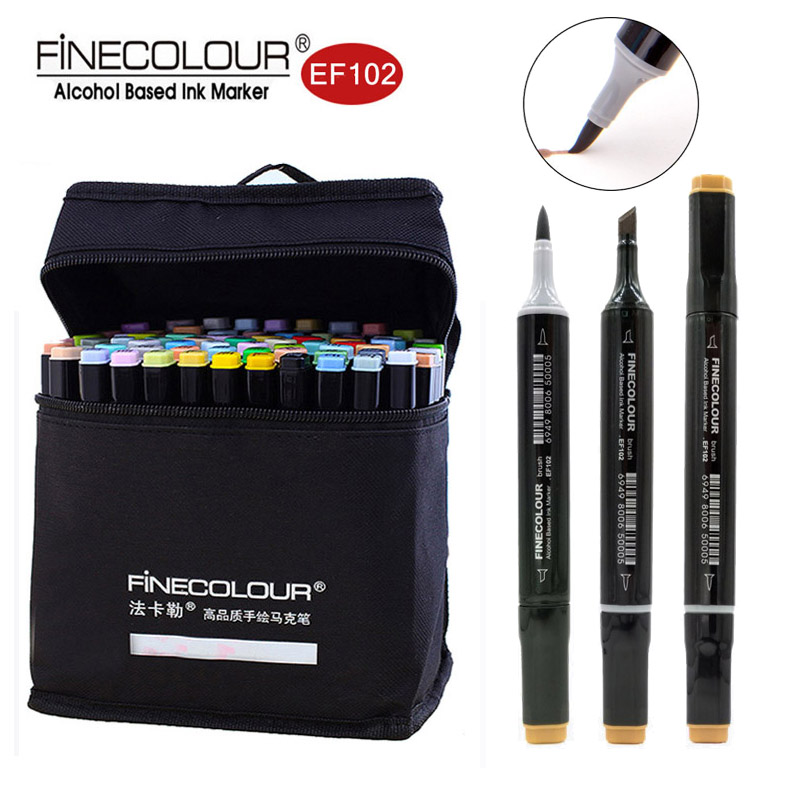 Finecolour Alcohol Based Brush Markers EF102 Soft Ultra Fine Pens 12/24/36/60/72 Colors Student Set Double Headed Sketch Marker finecolour ef101 alcohol based art sketch twin marker brush non toxic markers for school supplies 24 36 48 72 color set in bag