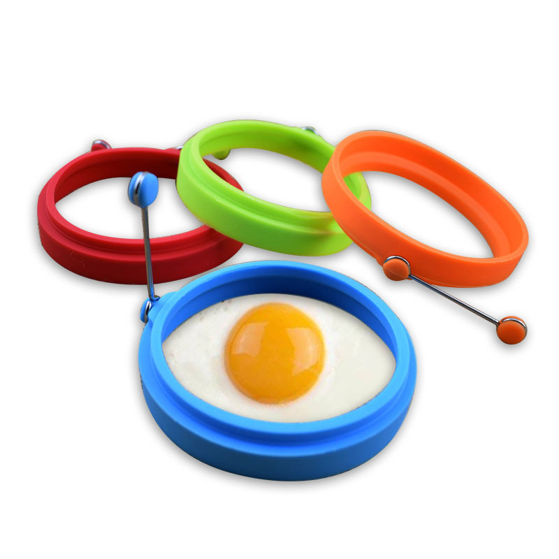 4 Color Omelet Tools Round Egg Convenience Insulation Handle Silicone Omelet Pancake Mold Poached Egg Mold Kitchen Utensil 17 in Egg Pancake Rings from Home Garden