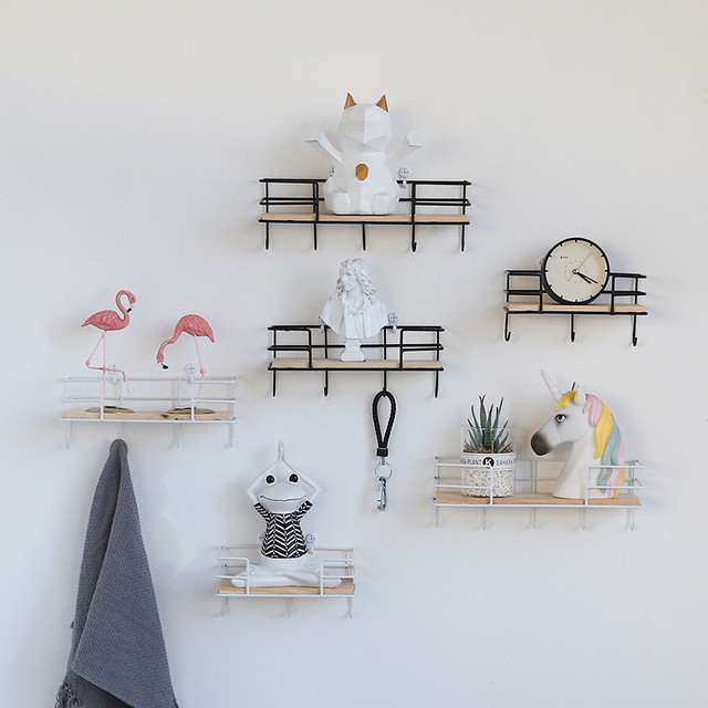 Pleasing Us 10 34 35 Off Wooden Iron Wall Shelf Wall Mounted Storage Rack Organization For Bedroom Kitchen Home Decor Kid Room Diy Wall Decoration Holder In Home Interior And Landscaping Fragforummapetitesourisinfo